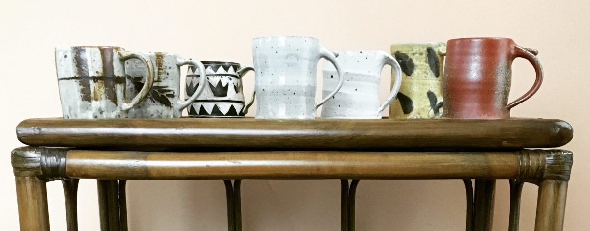 Stoneware mugs on a table